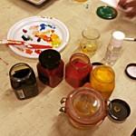 peinture à l'oeuf avec des pigments